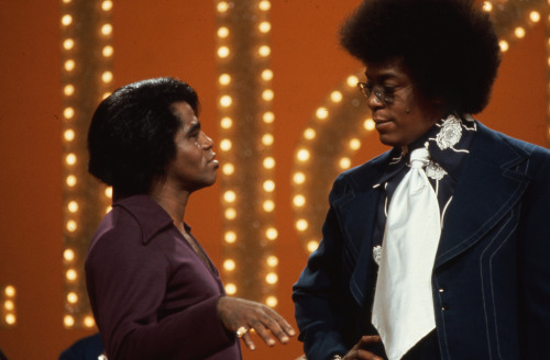 oldschoolsoulfan89:  Don Cornelius with James Brown.