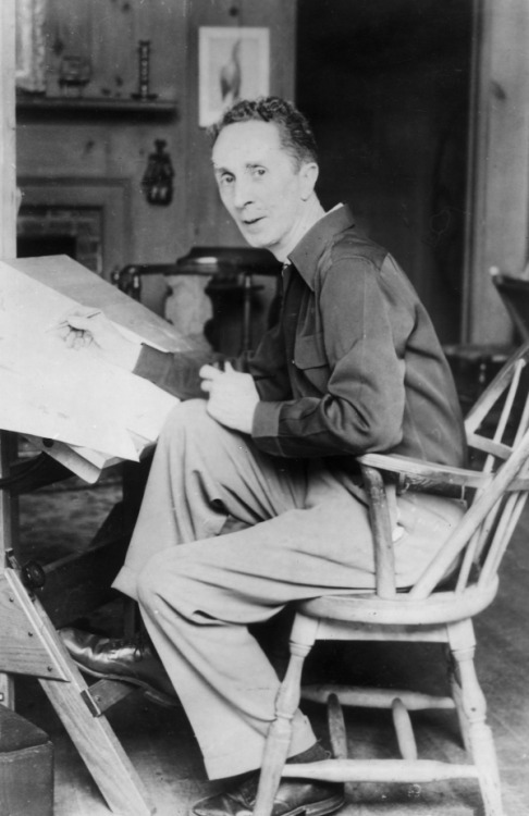klg19:  Happy birthday to all-American illustrator and artist Norman Rockwell (3 February 1894–8 November 1978), above in a photograph from around 1945 (photo by Hulton Archive/Getty Images). I imagine The Saturday Evening Postowed its continued existence to the cover art that Rockwell created for them over four decades, art that seemed to evoke the America many people wished us to be.  That's no slam—I LOVE Norman Rockwell, and have gone to the Norman Rockwell Museum up in the Berkshires more than once.  His distinctive stencil-y signature and his uniquely, gawkily American characters strike the same chord in me as a Frank Capra film does—a nostalgia for a time and place that never quite existed.    But Rockwell was also aware of exactly what kind of world we DID live in, and he could make a statement about that, as well, as in this painting of Ruby Bridges being escorted by US Marshalls to her first day of school in a newly-integrated Little Rock: