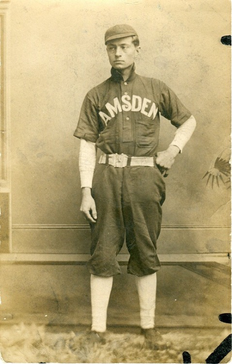 From near my old hometown of Kansas - Ohio, this Amsden ballplayer is featured on a postcard from ways back.  Amsden is a very small village (it is not even a town to my knowledge), so the fact that they once had a baseball team, just shows how significant this man's skills could have been.  Dig those socks!