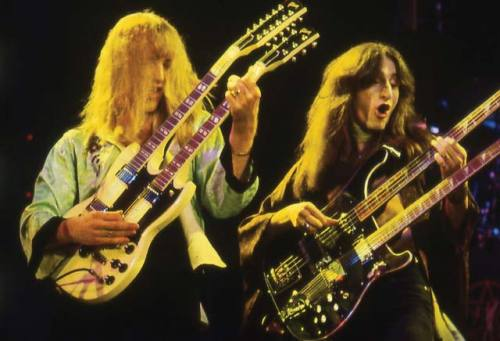 Happy 2-1-12 Alex Lifeson and Geddy Lee of Rush rock some doublenecks. Photo by Frank White.