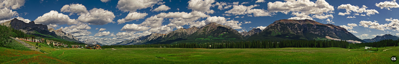 canmore, alberta. 180 degree panoramic view.