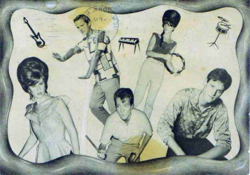 B-52's fan club postcard, 1983.Complimentary coffee stains.