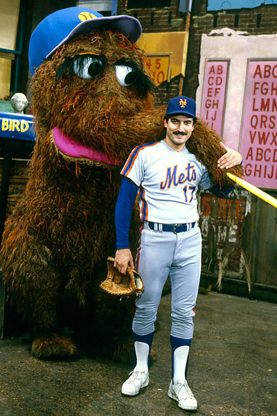 Snuffleupagus and Keith Hernandez getting frisky, c.1986.