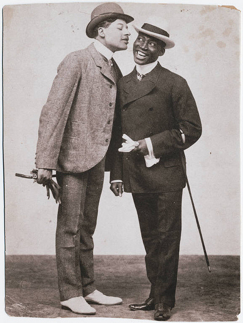 "The Kings of Comedy on Flickr.Photograph of Bert Williams (left) and George Walker, ca. 1898. Bert Williams (1874-1922) was one of the preeminent entertainers of the Vaudeville  era and one of the most popular comedians (of any race) at the time. He became the first black American to take a lead role on the Broadway stage, as well as the only black performer to sign with Ziegfeld Follies (1910-1918). Fellow vaudevillian W.C. Fields, who appeared in productions with Williams, described him as ""the funniest man I ever saw – and the saddest man I ever knew.""  Williams met George Walker in San Francisco in 1893 and the two formed what became the most successful comedy team of their time. They staged several vaudeville shows and full musical theater productions, including Senegambian Carnival (1897), The Policy Players (1899), The Sons of Ham (1900), In Dahomey (1902)…their biggest hit, Abyssinia (1906), and Bandana Land (1907). When George took ill and retired in 1908, Bert continued working and shared his earnings with him until he died in 1911.  Williams was also one of the most prolific black performers on recordings, making around 80 recordings from 1901-22. Indeed, his first recording sessions with George Walker for the Victor Company in 1901 are considered the first recordings by black performers for a major recording company. Williams died in New York City on March 4, 1922 after contracting pneumonia while on tour. Find Us On Twitter 