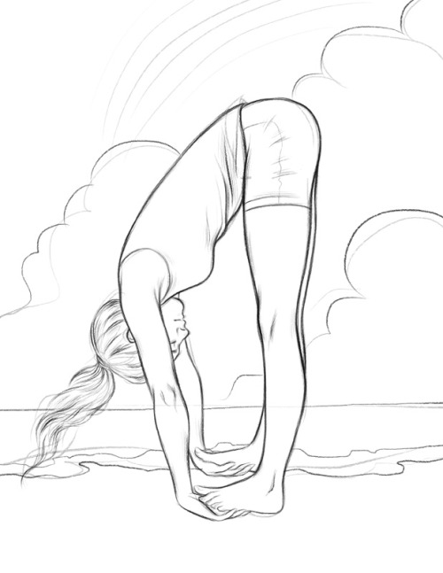 I know almost nothing about yoga, but I'm working on some illustrations for a book on it. Have a sketch, tumblr!