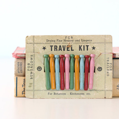 These are ridiculously awesome. WANT. Vintage wooden pins (travel kit), from bellalulu on Etsy.