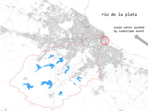 The watershed of the Riachuelo river overlaid on the footprint of Buenos Aires.  The blue shapes are the newly constructed reservoirs intended to minimize flooding downstream as part of the new drainage strategy for the basin implemented by ACUMAR.  In the urbanized areas where space for reservoirs is not available a similar strategy is called for on a micro scale.  The project site is indicated by the red circle and is in the most densely urbanized zone.