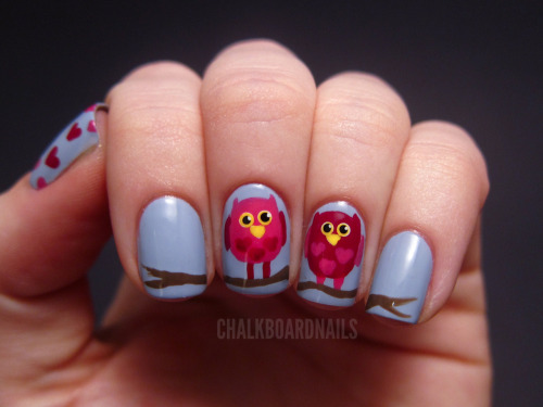 chalkboardnails:  Whoo Loves You? Zoya KristenOPI Manicurist of SevilleSally Hansen Twisted PinkChina Glaze Street MagicColor Club Almost Famous