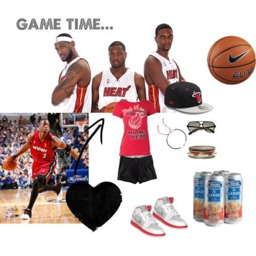 Game Time by crazyguera12 featuring stackable jewelryH&M cotton short shorts, £7.99Red white shoes, $57Belle Noel by Kim Kardashian stackable jewelry, $79Glass bead jewelry, £40Ray-Ban tortoise sunglasses, $135Nike Elite Championship 8-Panel (Size 6) Women's Basketball - Amber, 6, $65Miami Heat, $15Bud Light Chelada, 4pk, 16 oz | AmazonFresh, $6.99
