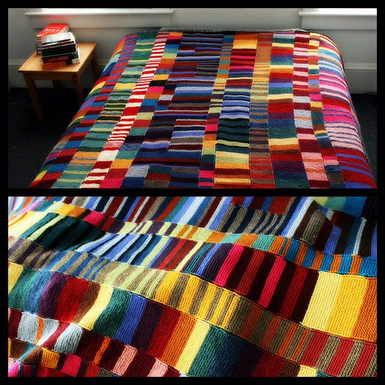 truebluemeandyou:  DIY Colorful Knit Blanket. No pattern, no pressure. Just use up your yarn and knit scarves using the garter stitch (knit every row) and seam them together. A good post on knitting what you love, and more directions at Completely Cauchy here.
