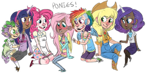nocauseforalarm:   MY HUMAN VERSIONS OF THE MANE SIX + SPIKE FUCKING PONIES MOTHERFUCKERS     Yay~