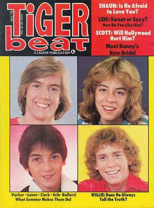 Shaun Cassidy, Leif Garrett, and Scott Baio on the cover of Tiger Beat, August 1978.
