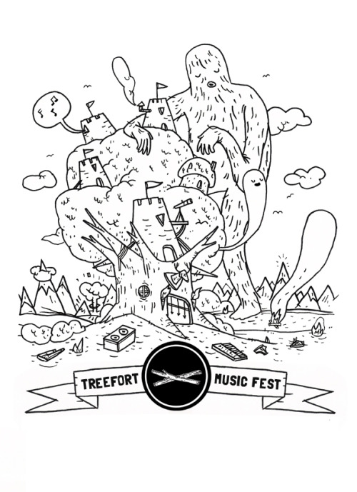 I am working on some new Treefort stuff. This will change a bit, but I like where it is at. As I am drawing this stuff I have this weird little narrative in my head about these giants luring people with music to this fort where they then feed off of the festival goers. This is in no way the official stance, story, or purpose of Treefort Music Festival. Enjoy.
