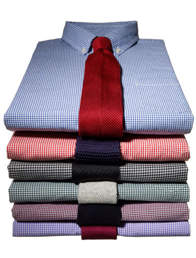 Year round shirts and ties. Gingham and Knit. That's Estilo!