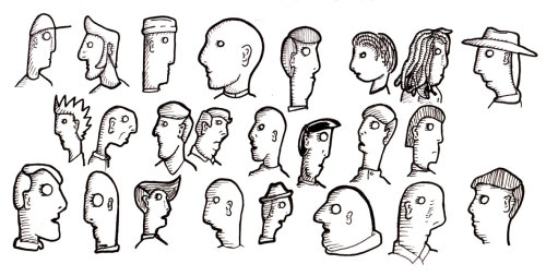 24 cartoon heads from my sketchbook.