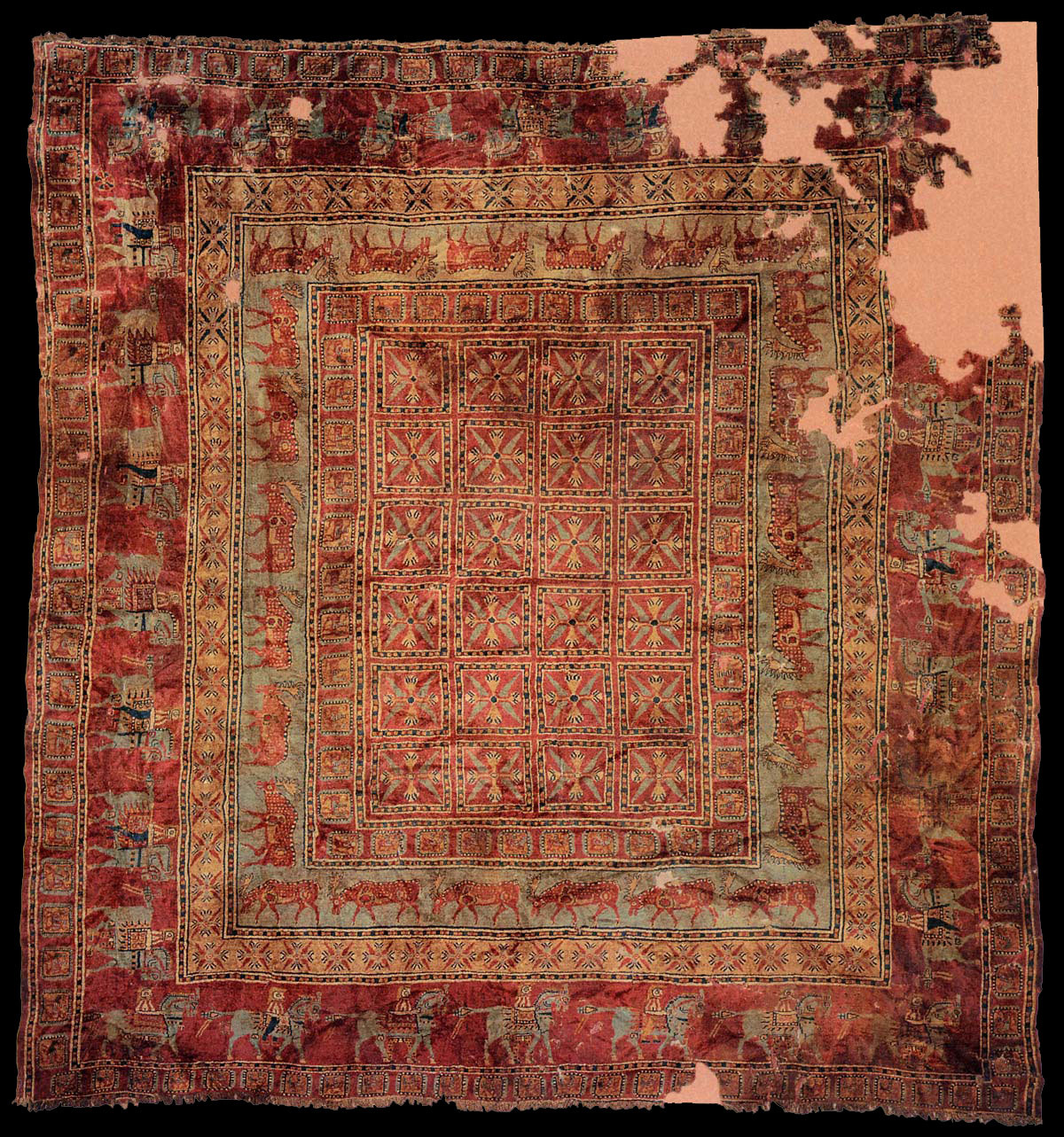 haruenishikawa:  The Pazyryk carpet is named for the Siberian valley in which it was found, in 1949, near Russia's borders with Mongolia, Kazakhstan, and China. It is the oldest known knotted carpet, preserved in a Scythe tomb (kurgan) from the 4th -3th century B.C.