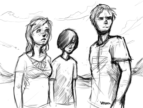 group sketch of the three main-est characters in Break.