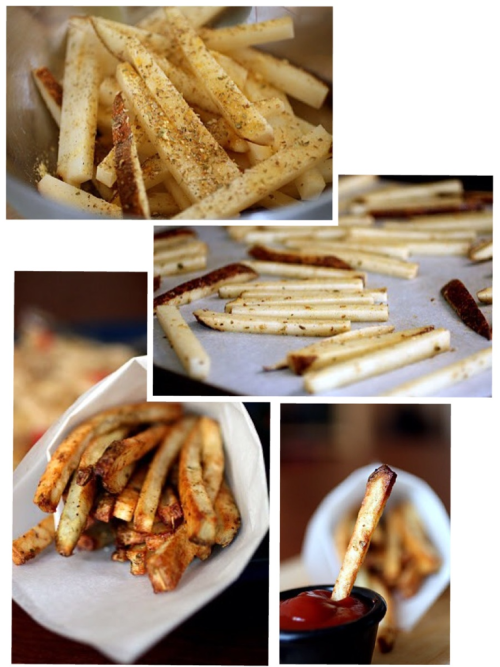 "Easy Baked French Fries	  Ingredients 1 large Potato 1 tablespoon olive oil 1 tablespoon garlic 1 teaspoon black pepper 1 tablespoon oregano 1 teaspoon mustard powder 1 teaspoon parsley salt to taste  Instructions: Preheat oven to 425˚ Before cutting potato, rinse well under water. From there, cut the ends off the potato, stand up on end, and cut slices from the potato that are 1/4"" thick (depending on how thick you want your fries- cut accordingly) Take slices and cut fries out of the potato-using 1/4 "" as the measurement. Once all fries are cut, place in medium bowl and add the remaining ingredients, tossing until every piece is covered.  Spread out onto a baking sheet covered in parchment paper.  Bake for 25 minutes, flip the fries, and bake for a remaining 10-15 until fries are crispy (35-45 minutes total.  Make sure to not over crowed the pan- this is result in uneven baking."