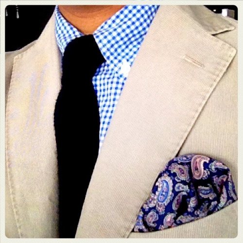 WIWT - 2 February 2012  Blue Gingham shirt by Uniqlo, Navy knit tie by Massimo Dutti, Beige cotton sportcoat by Boglioli, pocket square by Crombie.