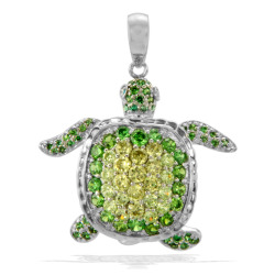 bestdiaint:  Cute 925 Sterling Silver, Green & Yellow Cubic Zircon Turtle Pendant - http://bit.ly/zWEDhr Shine up your life! www.BestDia.com