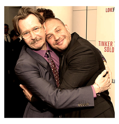 "tomhardyvariations:  Yay, it's cuddle time… *Hardy: Oldman Oscar nod is overdue* Tom Hardy has thrown his weight behind Gary Oldman's Oscar campaign - saying his nomination is long overdue. The two men starred together in Tinker Tailor Soldier Spy, for which Oldman received a best actor nod. Tom said the news was ""amazing"" but that his co-star didn't need an Academy Award to prove himself. He said: ""I think it's amazing, it's about time actually. The official answer is that I'm 110 per cent behind him, I think he deserves it. ""The other side of it is that he doesn't need an award because he is the best actor ever."""