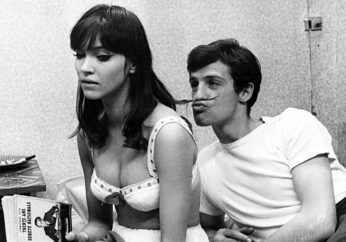 "Anna Karina and Jean-Paul Belmondo on the set of ""Une femme est une femme"" (via everyday_i_show: photos by Raymond Cauchetier)"