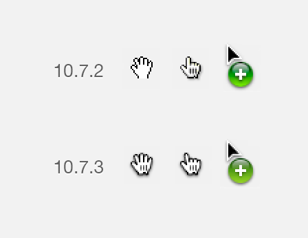 littlebigdetails:  Mac OS X: Cursor update. /via Marc  the new pointer finger is so ugly D:«<
