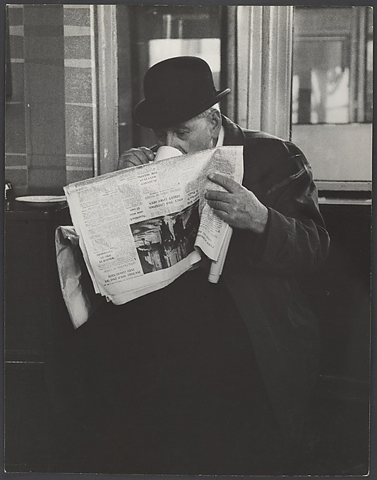 Man in Bowler Hat Reading Newspaper and Drinking Tea, London] Leon Levinstein (American, Buckhannon, West Virginia 1910–1988 New York City) Date: 1960s