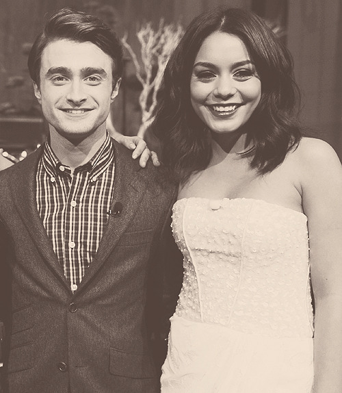Daniel Radcliffe with Vanessa Hudgens on the set of The Tonight Show With Jay Leno
