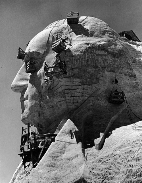 melisaki:  Construction of George Washington section of Mt. Rushmore Monument photo by Alfred Eisenstaedt, 1940