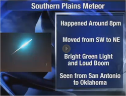 "We heard the Meteor ""boom"" last night!  NORTH TEXAS (CBSDFW.COM) – The FAA has confirmed a meteor likely passed across the sky of the Southwest United States Wednesday night, with many people in the Dallas/Fort Worth area hearing and feeling the sonic boom. The meteor, which was reported from everywhere from San Antonio to Oklahoma City, was spotted around 8:00 p.m. Wednesday. Kevin Palivec, a former television photographer in the Abilene area captured video of the meteor on two remote cameras 60 miles apart.  Images from the cameras show a bright streak passing overhead."
