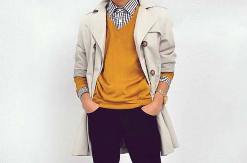 thetieguy:  love love LOVE the mustard here!  That sweater with eggplant pants.