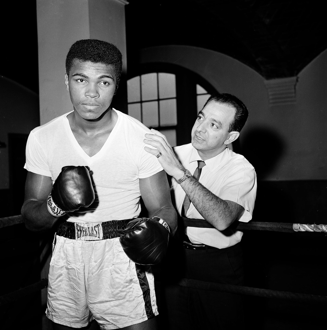 Dan Grossi—AP Ali with his trainer Angelo Dundee in New York City, 1962. The AP has reported that Angelo Dundee, Muhammad Ali's trainer, has died. Dundee and Ali were pictured together in LightBox's slideshow celebrating the boxer's 70th birthday. Read Dundee's thoughts on Ali and see more here.
