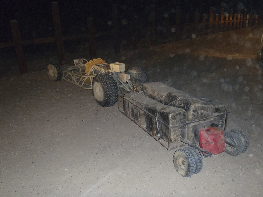 "Mexican drug plot foiled when U.S. stops marijuana-laden go-kart from crossing the borderU.S. border cops in far-west Arizona have seized an off-road go-kart and trailer packed with marijuana, in the latest bizarre attempt by Mexican smugglers to beat beefed up border security.The Border Patrol's Yuma sector said agents and officers from the Cocopah Tribal Police Department spotted the single-seater go-kart hauling a trailer through the desert near Yuma, Arizona on Tuesday night and gave chase.The driver abandoned the homemade vehicle, which was spray painted a desert beige, fitted with knobbly off-road tires, and towing a trailer packed with 217 pounds of marijuana, about 100 yards from the border, and fled back to Mexico.""It's not something that we see very often,"" agent Spencer Tippets said of the attempt. (Photo: U.S. Customs and Border Protection/Reuters)"