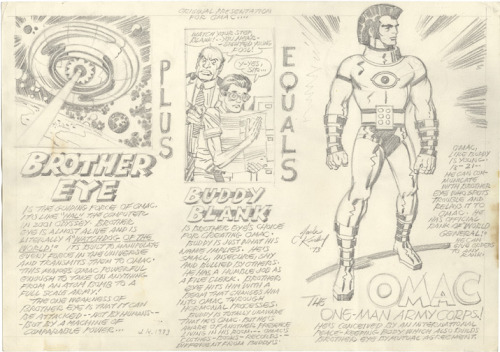davepress:  Kirby concept art for the original O.M.A.C. How awesome is this? And yes, I am one of the mourners of the new series, because it was probably the most fun series of the New 52.