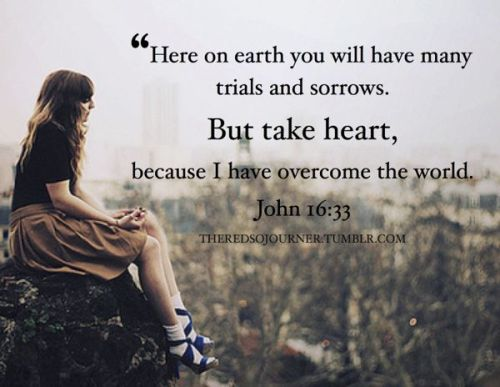 Here on earth you will have many trials and sorrows. But take heart, because I have overcome the world. (John 16:33)