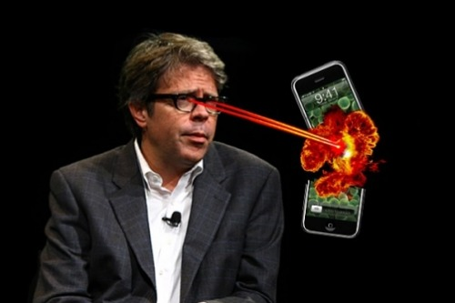 "inothernews:  newsweek:  Things Jonathan Franzen Hates 1. E-books: ""That kind of radical contingency is not compatible with a system of justice or responsible self-government."" 2. Smartphones: ""Great allies and enablers of narcissism."" 3. The Internet: ""It's doubtful that anyone with an internet connection at his workplace is writing good fiction."" 4. Cats: ""the sociopaths of the pet world."" 5. Experimental fiction: ""It's also in my Protestant nature, however, to expect some reward for this work."" 6. Schmaltzy fiction: ""I cringe, myself."" 7. Michiko Kakutani: ""the stupidest person in New York City."" 8. Insipid Broadway musical adaptations: ""instantly overpraised."" 9. Author videos: ""This might be a good place for me to register my profound discomfort at having to make videos like this.""  10.  Half of all the things everyone else likes:  ""'Popular' is just another word for 'hipster.'""  I recently finished The Corrections. It's decent."