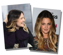 And the ombre experiment continues.  Drew Barrymore takes dip-dying to the next level.