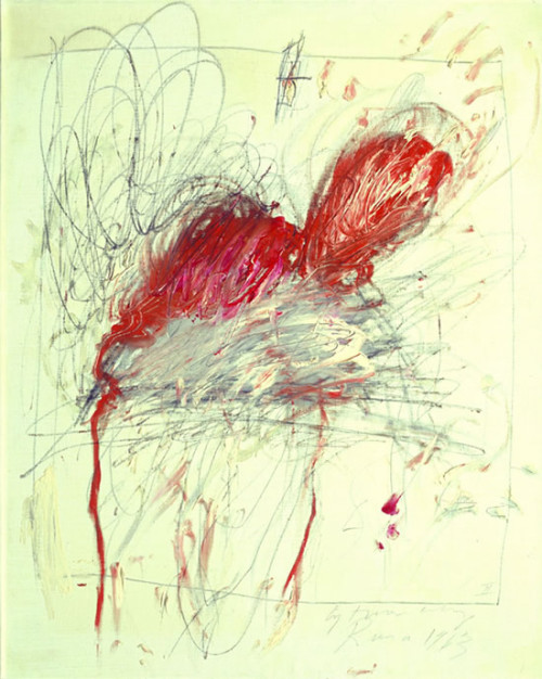 "Artist Cy Twombly   ""leda and the swan"" 1963"