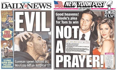 "Daily News: ""EVIL,"" read the huge white letters on today's front, over a picture of a feral-looking Luis Ortiz. (This is a man with the nickname ""Baby,"" but who my sister said looked to her like the kind of Lifetime Movie Network villain whose onscreen soundtrack would be some kind of industrial metal—""bad guy music,"" in other words.)  I like when Tom's The Front gets a little intimate about how he processes the front pages."