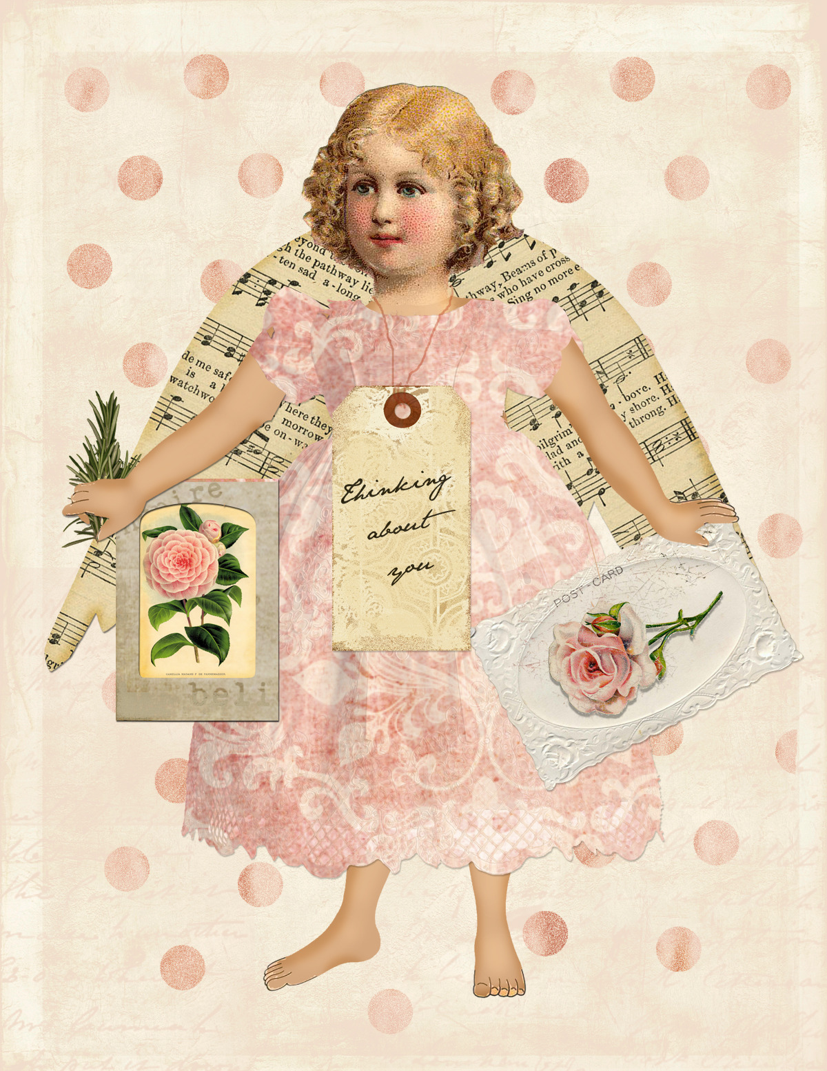 I'm loving this digital montage I made in photoshop. Girly pink & vintage images make my heart sing.  Just right click & save to print out. Makes a sweet card. Enjoy.
