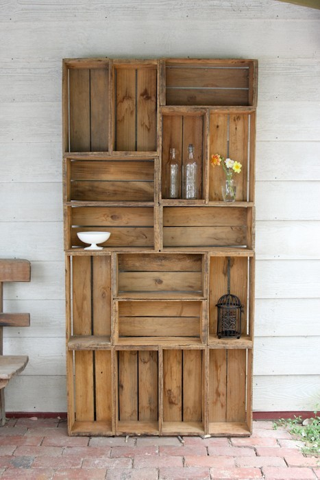 I LOVE THIS!! craftovision:  Shelving Unit from Old Wooden Crates, found via OhRheally.  Yearning for a country cottage. I absolutely am freaking out about this idea. So simple but f-ing fantastic! BRAVO!