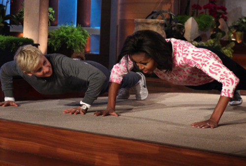 Ellen DeGeneres challenges the First Arms of the United States to a push-up challenge. SPOILER: Michelle bests Ellen with 25 push-ups. [watch]