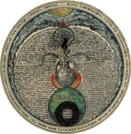 "posthorn:  ""The Hermaphrodite"", alchemical image by Heinrich Khunrath, the central image of a plate from Ampitheatrum Sapientiae Aeternae, 1595. The full image can be viewed here."