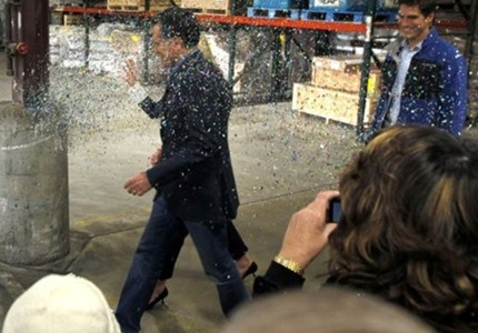 "gop-circus:  Mitt Romney was officially glitter bombed yesterday as he approached a stage at a Minnesota event hosted by Tim Pawlenty. Romney had  GREAT day-, first he told CNN's Soledad O'Brien that he's ""not concerned about the very poor,"" ( a statement he is still trying to defend ) and then he was greeted with a face full of glitter. If we could get every poor person in America to team up with every gay person in America, we could have the glitterbomb of the century and maybe even wipe out the whole damn GOP. boom!  We should throw glitter and nets."