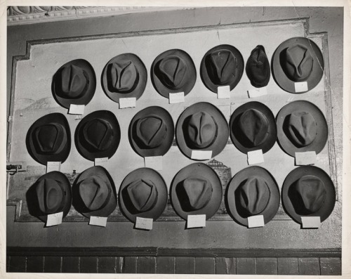 Look at all the different creases on these hats.