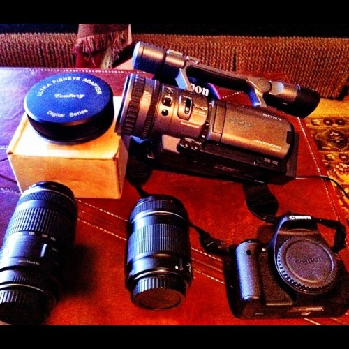 I'm ready to film #gnar #equipment #bigtime #bestoftheday #igdaily #canon #t3i #Sony #camcorder #HD #skate #Berrics #plaza #shred #livefast #filming #loving #LA (Taken with instagram)