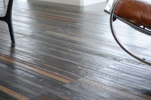 oliphillips:  Recycled Leather Belt Flooring by TING