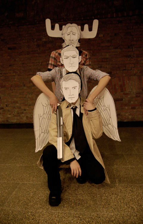 gregorywelter:  We did it!! OUR AWESOME SUPERNATURAL COSPLAY XD me as Dean, Alex, my best friend, as Sam and my dear Uncle D as Castiel XD WE ROCK!! photo by Nemori all photos here - http://www.diary.ru/~gregoryofyardale/p172487530.htm?from=last#584825868