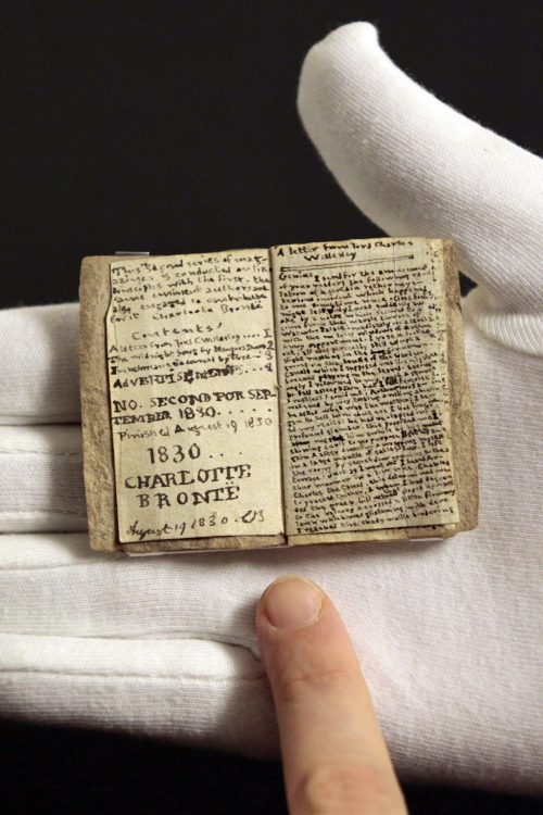 workman:  nparts: Museum unveils Bronte's teeny tiny early work A manuscript by British author Charlotte Brontë that fits comfortably into the palm of a hand that fetched 691,000 pounds ($1.1 million) at a Sotheby's auction in December, more than twice the upper estimate, went on display this week.